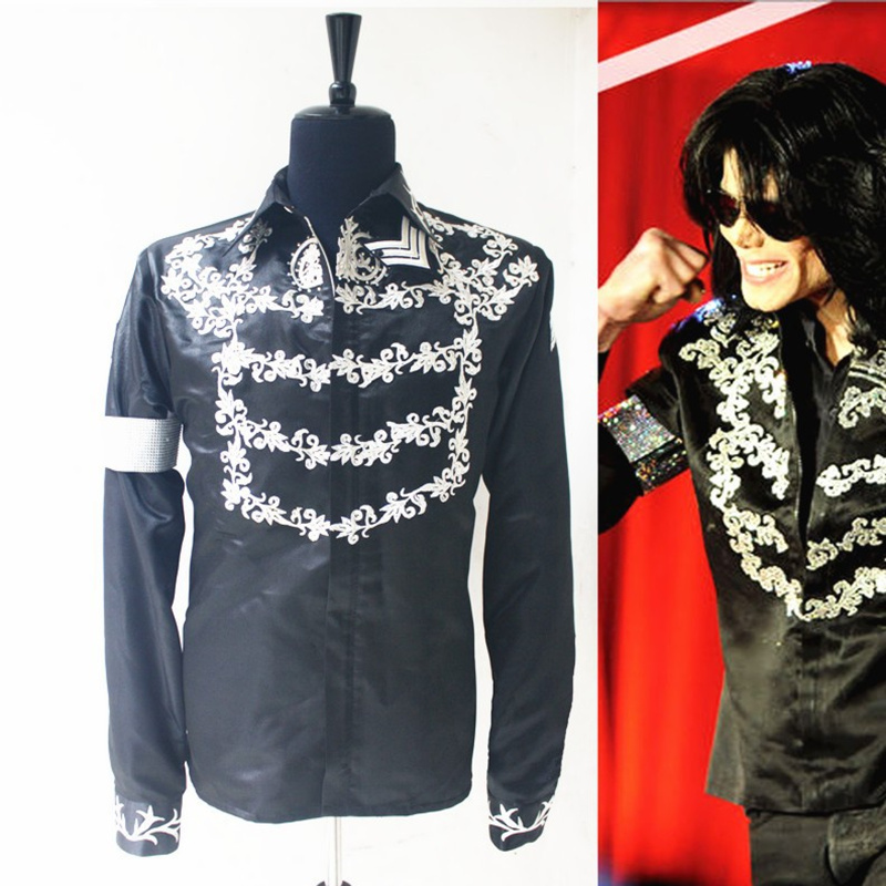 Formal Dress Casual MJ MICHAEL JACKSON Costume Black Print Press Conference This is it Handmade Printing Jacket Fans Best Gift