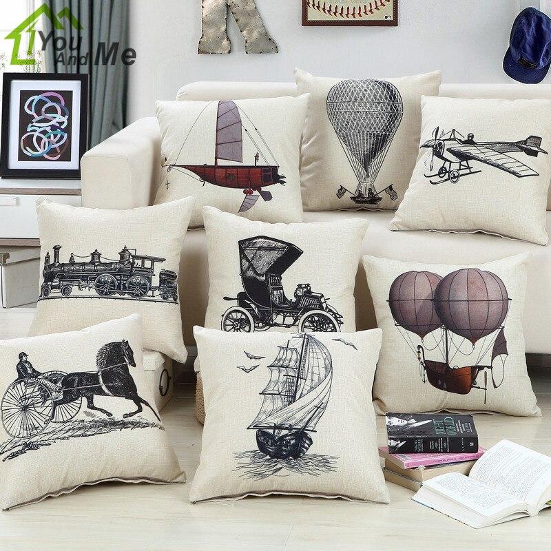 45x45cm Retro Simple Sketch Boat Flight Printed Cushion Cover Linen Cotton Car Home Sofa Throw Pillowcase