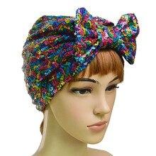 Muzułmańskie cekiny Bonnet kobiet Bowknot hidżab bawełna Turban nakrycia głowy czapka chusta na głowę Chemo czapki łuki osłona na włosy akcesoria