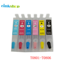 T0801 Refillable Ink Cartridge For Epson P50 RX660 R265 R360 RX560 R285 RX585 RX685 PX700 PX710 PX810 Printer With ARC Chips