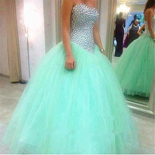 Bling Crystal Silver Beaded Ball gown Sweet Mint Blue Quinceanera Dresses Tulle Bandage pageant Sexy Sixteen