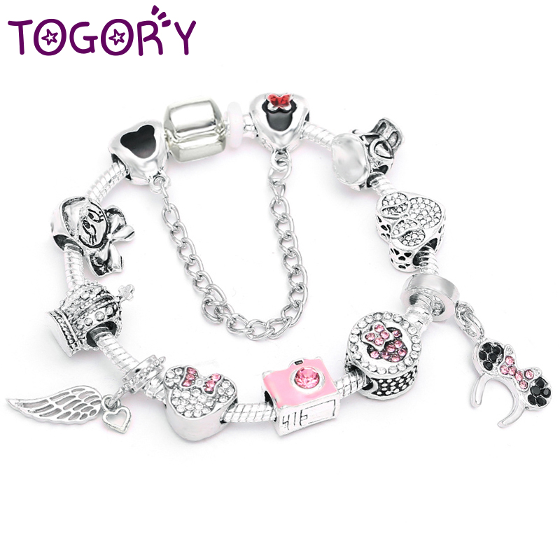 TOGORY Dropshopping High Quality Crystal Camera Beads Charm Bracelets DIY European Fine Bracelets For Women Jewelry Gift image