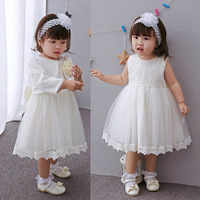 Christmas Baby Frock Designs Girl Baptism Dresses Party Princess Wedding Birthday Christening Dress Big Bow Lace