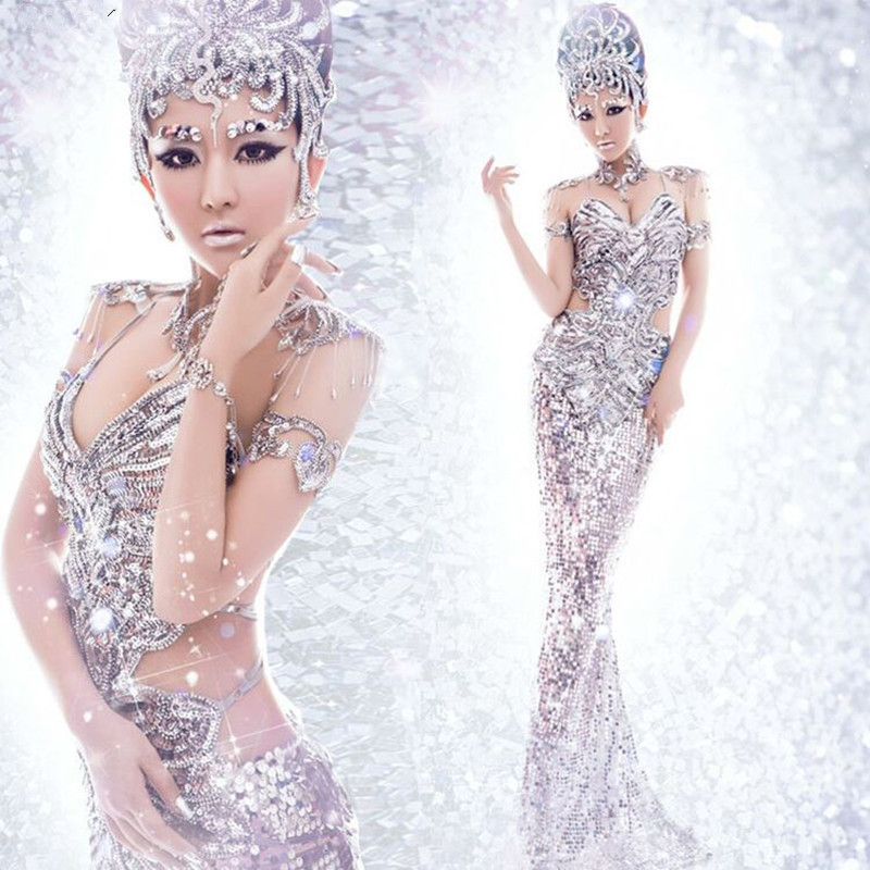Award Ceremony Model Catwalk Stage Costume Women Singer Dancer Host Sexy Backless Dress Stage Outfit Silvery Sequins Skirts Sets