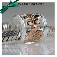 Free Shipping 925 Sterling Silver Pendant Gold Plated Flower Charm Bead Fits For European Bracelet Necklace