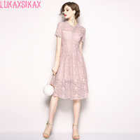LUKAXSIKAX FASHION 2019 New Women Summer Dress High Quality Hollow Out Pink Lace Dress Elegant Slim Evening Party Dresses