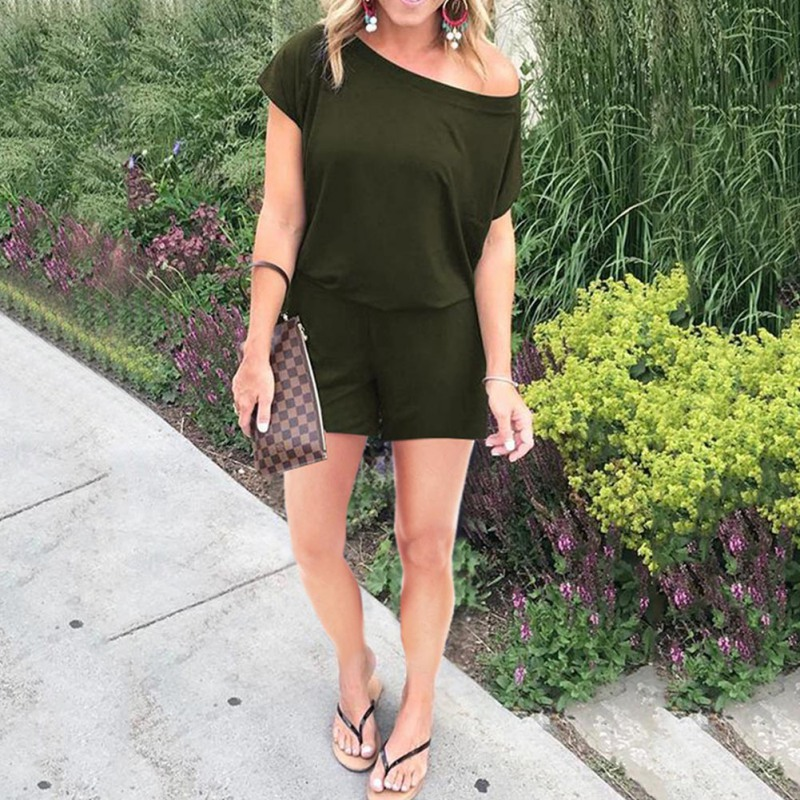 Sexy Off Shoulder Solid Playsuits Summer Casual Short Sleeve Playsuit Women Rompers Shorts 2019 New Fashion Women Clothing