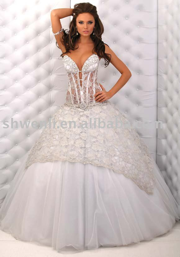 Sexy Diamond Lace Wedding Dress Ball Gown In Dresses From Weddings Events On Aliexpress