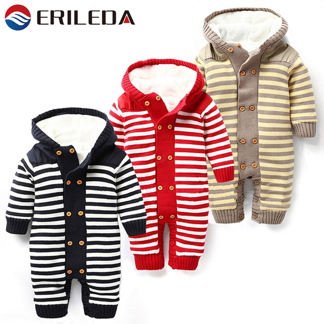 f010f715fc5 Baby Winter Rompers For Baby Boy Girl Newborn Baby Winter Thickened Jumpsuit  Romper Hooded Striped Knitted