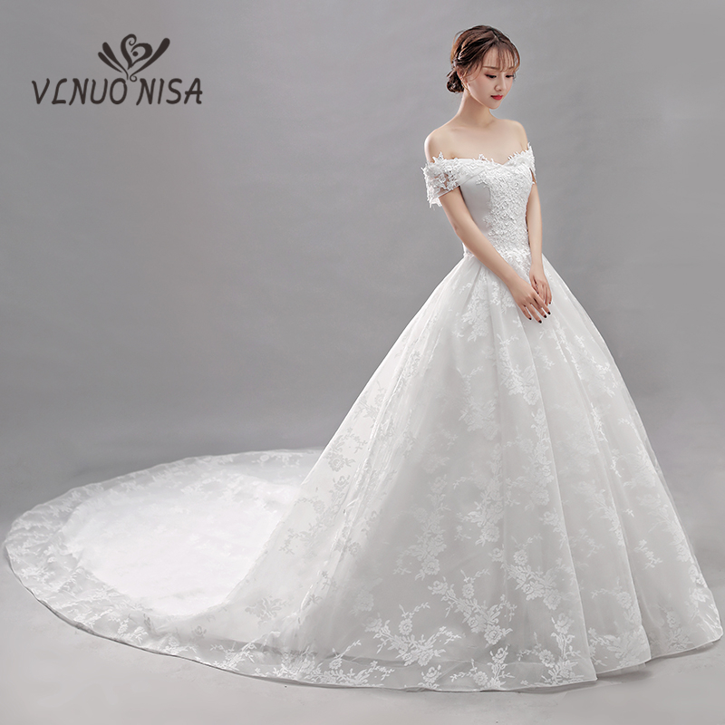 VLNUO NISA Luxury White Lace Wedding Dress With Long Train Elegant Boat Neck Lace Up Bridal Dress Vestidos De Novia Gelinlik 35