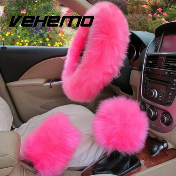 Vehemo 3Pcs/Set Plush Soft Auto Car Steering Wheel Gear Brake Cover Sleeves Set Universal For BMW E46 AUDI A4 6 FORD FOCUS 2 3