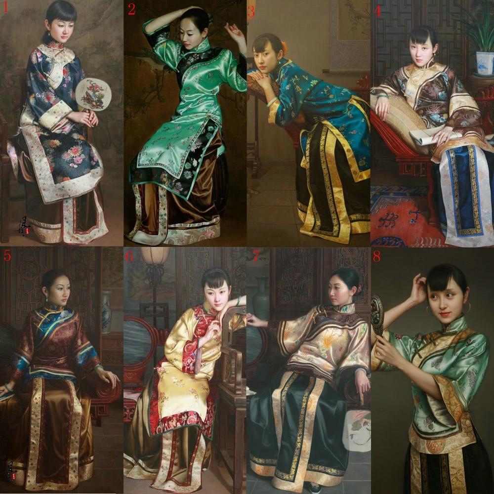 Silk Woven Satin Late Qing Republican Period Rich Lady Costume XiuHeFu For Drama Costume Stage Hanfu