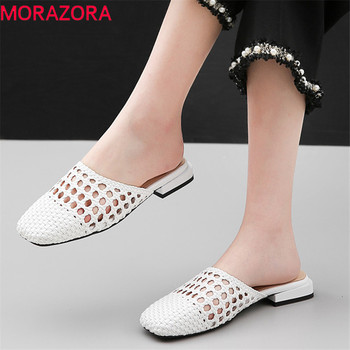 MORAZORA 2019 new fashion style women slipper outside summer flat shoes ladies hollow out comfortable simple casual shoes woman