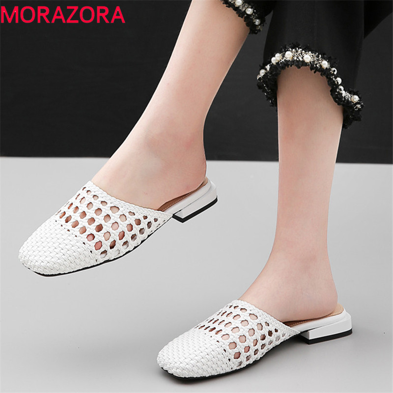 Morazora 2019 새로운 패션 스타일 여성 슬리퍼 외부 여름 플랫 신발 신사 숙녀 편안한 간단한 캐주얼 신발 여성-에서슬리퍼부터 신발 의  그룹 1