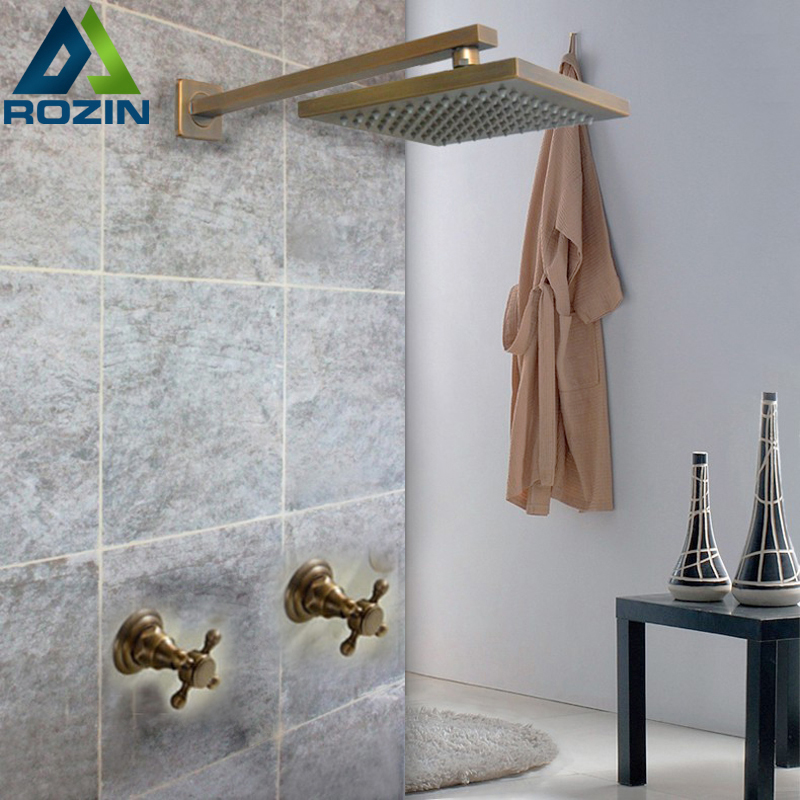 Brass Antique Dual Cross Handles Shower Faucet Tap 8 inch Rainfall Shower Head Rain Shower Mixers With Hot and Cold Water