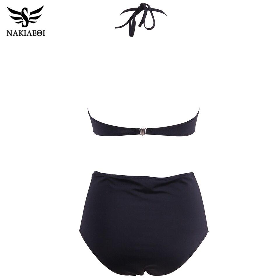 NAKIAEOI 2019 New High Neck Bikinis Women Swimwear High Waist Swimsuit Retro Print Floral Crop Top Halter Bikini Set Bating Suit 1