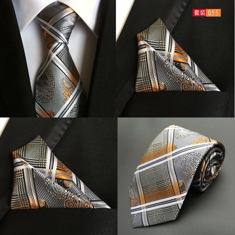 8 Cm Mens Ties And Handkerchief Sets Wedding Formal Tie For Men Jacquard Stripe Necktie Pocket Squares Blue Orange Fashion 2018
