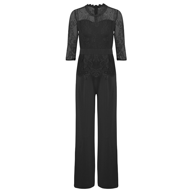 Sexy Office Rompers Women Jumpsuit Lace Splice 3/4 Sleeves Wide Leg Long Pants Playsuit Elegant Peplum Jumpsuits for Women 2019