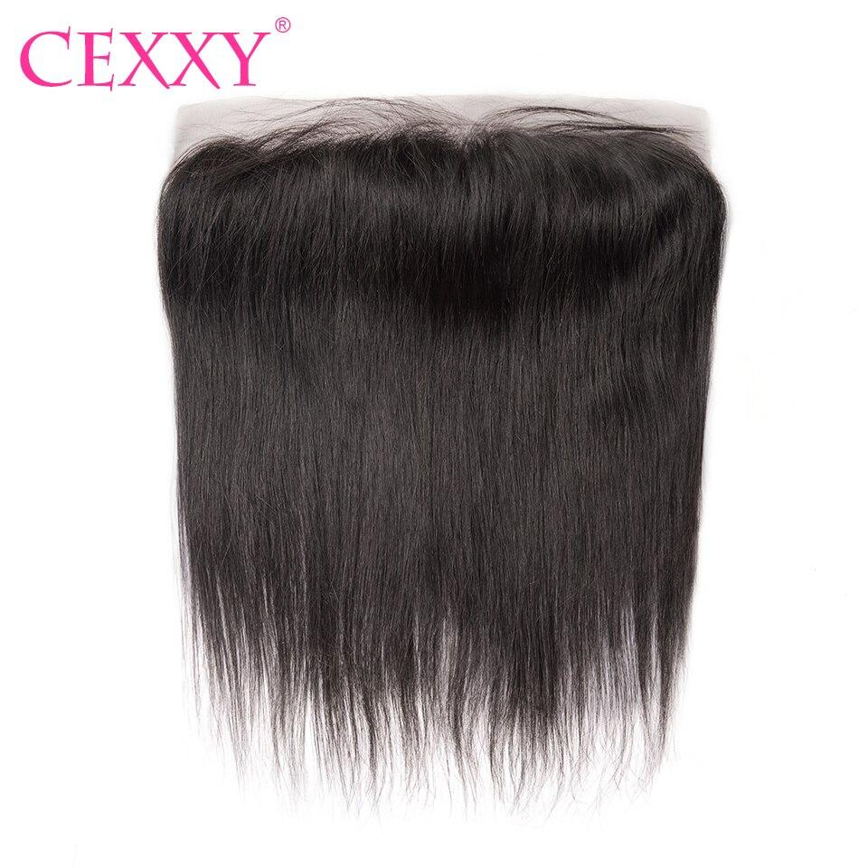 CEXXY-cierre Frontal de malla para cabello, cabello brasileño Remy liso con encaje Frontal 13x4, Color Natural, envío gratis