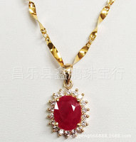 18K Gold Natural Ruby Pendant Necklace
