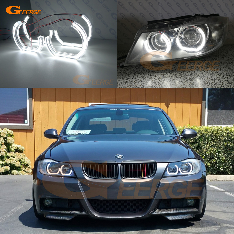 For BMW 3 Series E90 E91 2006 2007 2008 Xenon headlight Excellent crystal DTM M4 Style Ultra bright led Angel Eyes kit pair car front headlamp clear lens headlight plastic shell clear cover for bmw e90 e91 2004 2005 2006 2007