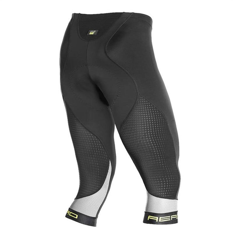 Jakroo HIVIS Men's 3/4 Cycling Capris Italian MITI Fabric Mesh Breathable Bormio Cushion Cycling Pants MTB Bike Cycling Clothing