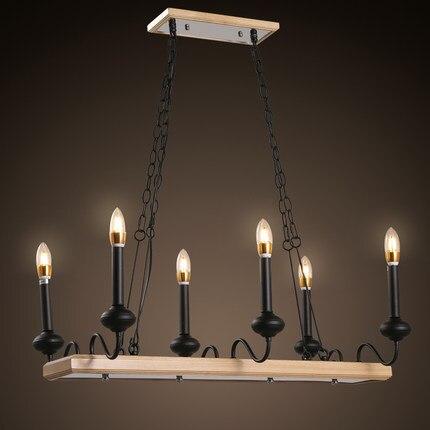 Amerikanischen Land Retro Eisen Pendelleuchte Holz Dekoration Kerze Form Esszimmer Wohnzimmer Licht Freies VerschiffenChina