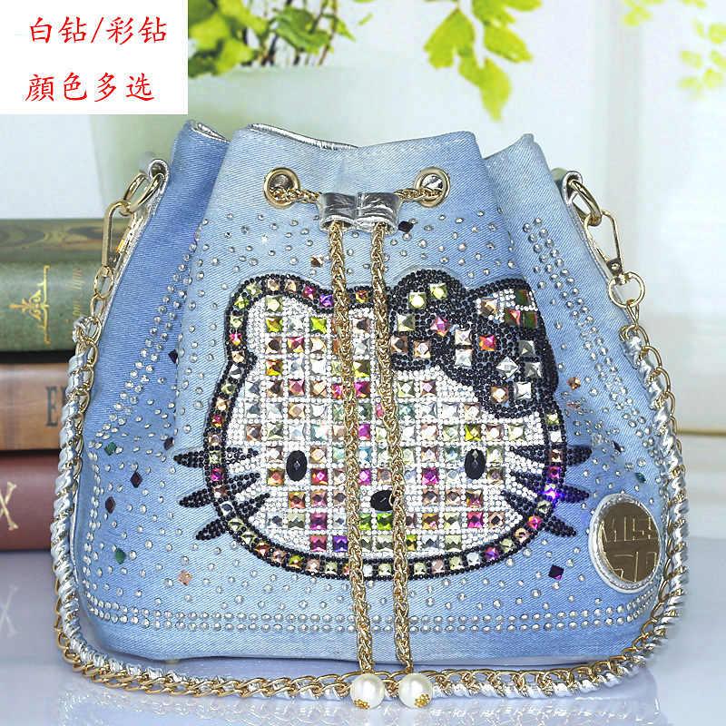 2018 Balde de Moda Saco de Denim de Alta Qualidade gatinho Bolsas bolsa de Ombro Bolsa de Diamantes Mulheres bolsas de luxo mulheres sacos de designer