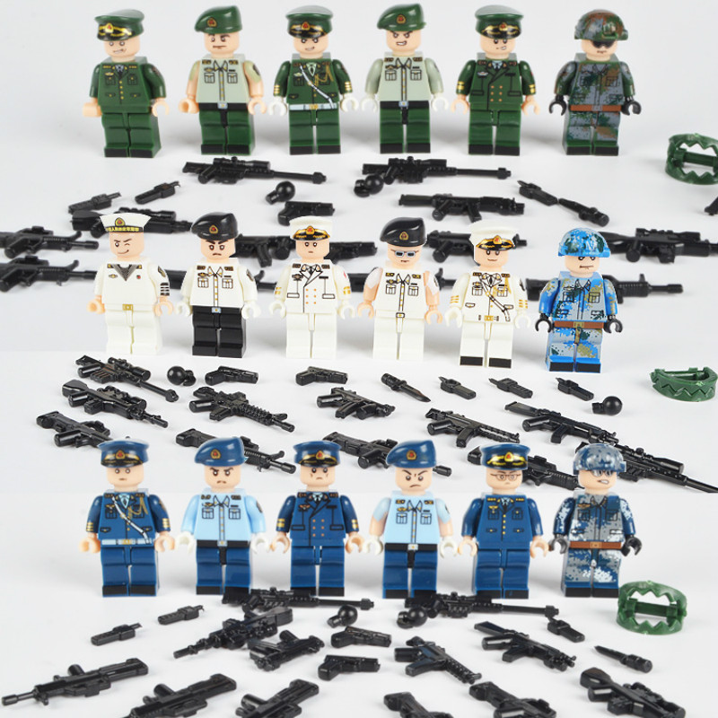 6Pcs Soldiers With Weapons World War 2 Army Team Military LegoINGlys Military Army Ww2 Block Set Building Bricks Toy for Boys military city police swat team army soldiers with weapons ww2 building blocks toys for children gift
