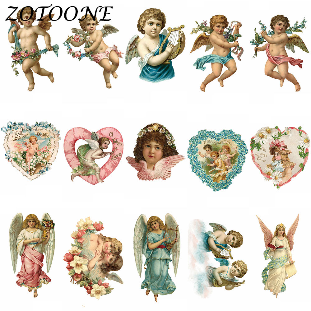 ZOTOONE Cute Angel Patch Iron on Transfer Patches for Clothing Baby Clothes DIY Decoration Alien E