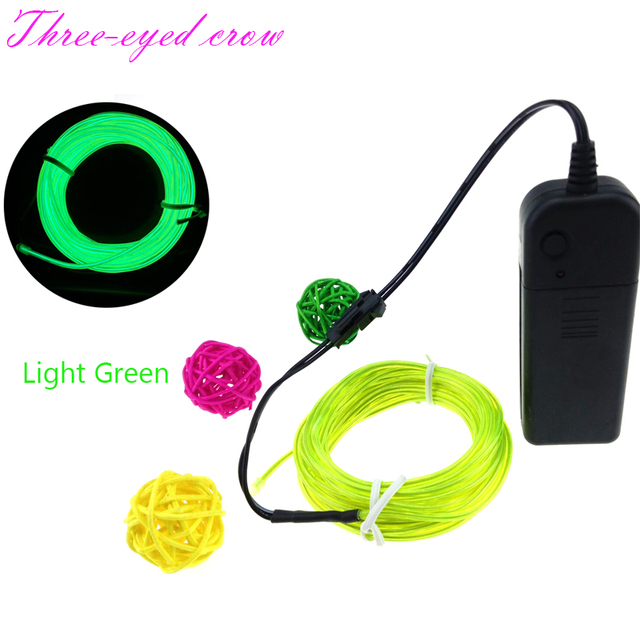 15FT 5M Battery Led Srip Light Multicolor EL Wire Tube Rope Battery ...