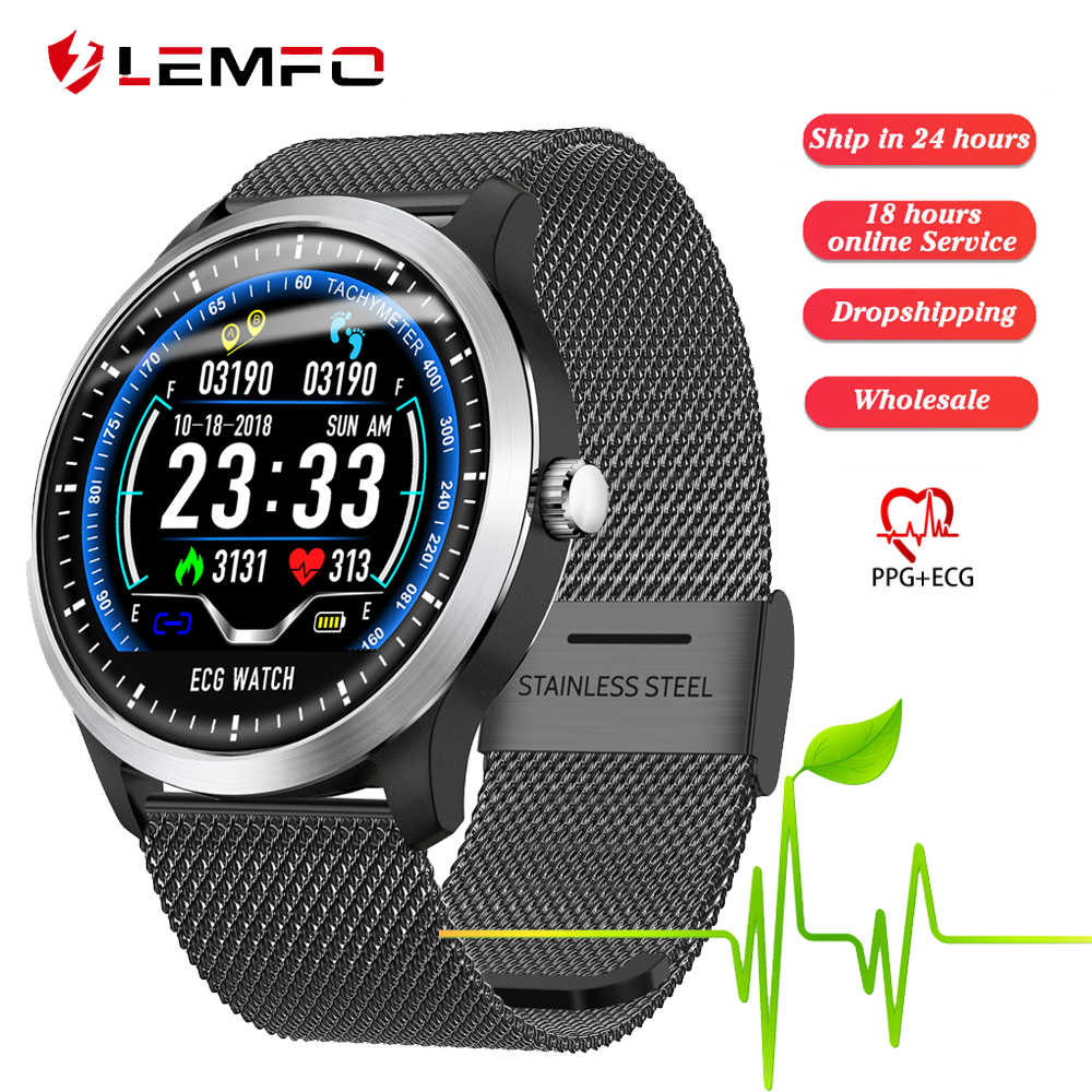 Lemfo N58 2019 Baru EKG + PPG Smart Watch Pria IP67 Tahan Air Olahraga Watch Monitor Detak Jantung Darah Tekanan Smartwatch