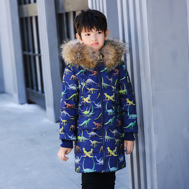 2018 New Winter Baby Boys Warm Jacket White Duck Down Children Kids Hooded Real Recoon Fur Outerwear Boys Cartoon Dinosaur Coat цена 2017