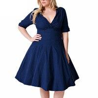 2017 New Plus Size Women Elegant Dresses Elastic V Neck Navy Blue Black Large Size Party
