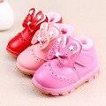 Niñas bebés Moda Terciopelo de La Felpa de Invierno Botas Zapatos de Los Niños Zapatos de Algodón Espesar Con Arco Botas de Princesa Infantil Caliente Inferior Suave