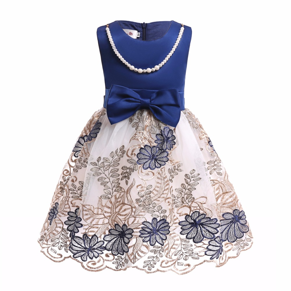 Fancy bowknot Kids Dress Wedding Flower Girls Dress Princess Party Pageant Formal Dress Prom Girl Birthday Dress