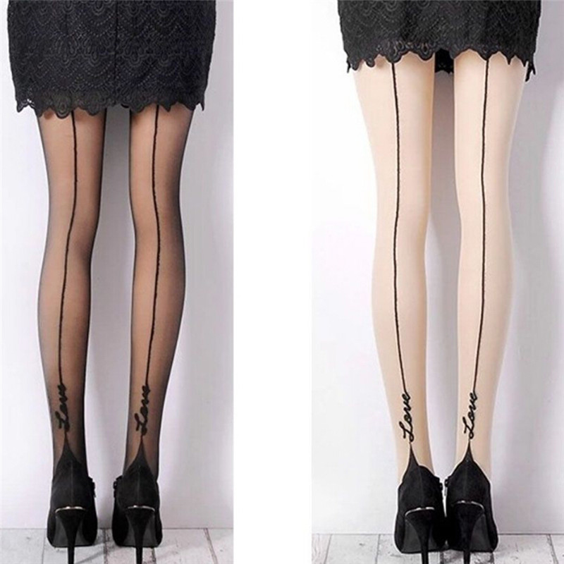 1 Pair Black Nude Female Fashion Sexy Stockings Pantyhose English Love Letter Tattoo Jacquard for Woman Girl