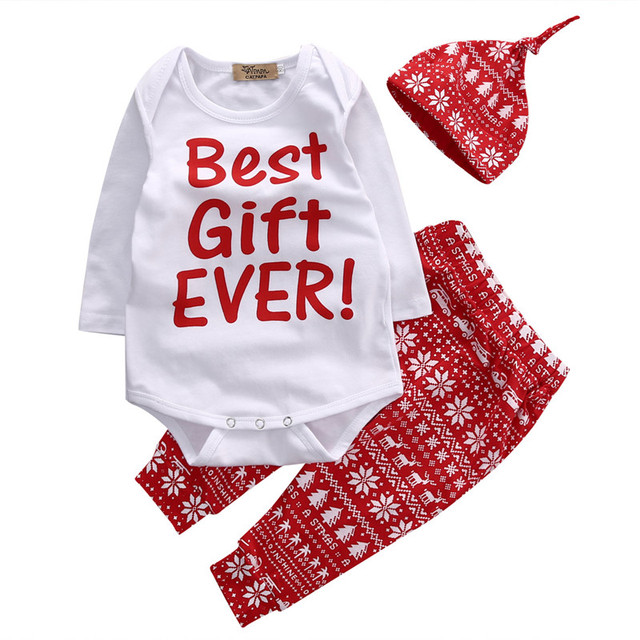 bb89f75a0 Christmas Best Gift Ever Baby Romper Clothes Sets Long Sleeve Tops jumpsuit  And Christmas Style Pants Hats Outfits Set 3PCS