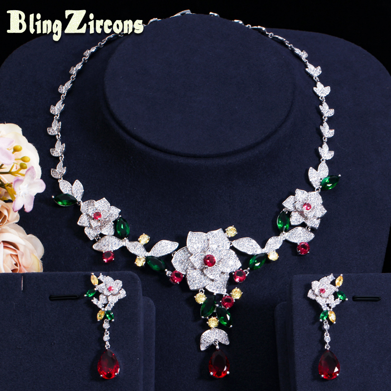 BeaQueen Colorful Cubic Zircon Flower Drop Earring Necklace Heavy Dinner Jewelry Set Wedding Bridal Dress Accessories
