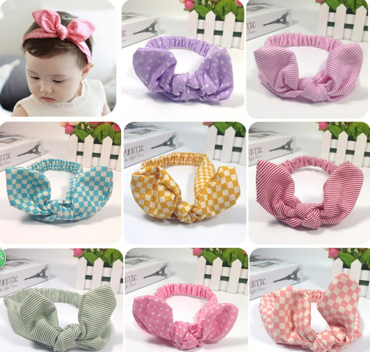 2017 1PC BB Hair Accessories Bunny Rabbit Ear Headband Cute Toddlers Bow Knot Headwear Girls Turban Hair Band Sweet Headband 1 pc women fashion elastic stretch plain rabbit bow style hair band headband turban hairband hair accessories