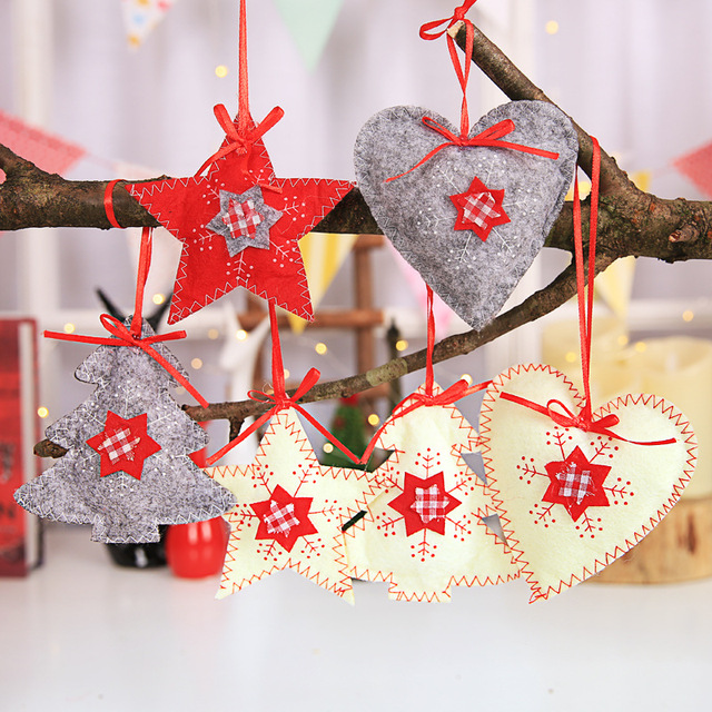3pcs diy felt printed snowflake christmas tree decorations ornaments 2018 new year 2019 xmas christmas gift