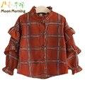 Moon Morning Kids Blouse 2T~8T Cotton Long Sleeve Spring Children Shirts laid Mandarin Ruffles Good New Frill Meisjes Clothing