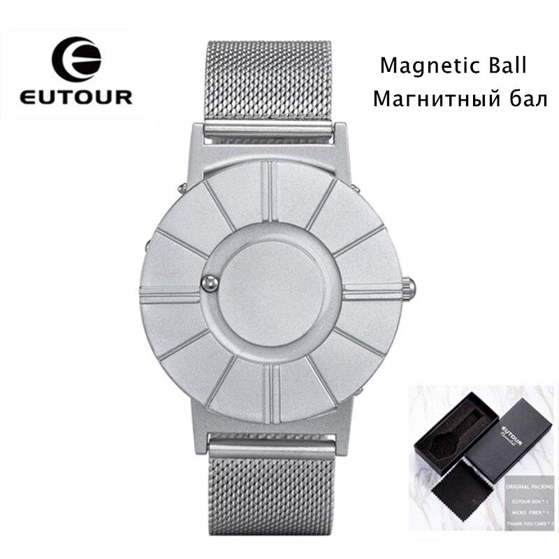 Dropshipping EUTOUR Magnétique Montre Hommes De Luxe Imperméables Mens Montre-Bracelet Sangle En Nylon De Mode Balle Afficher Unisexe Quartz Montre Saat