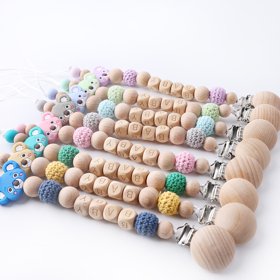 1PC Pacifier Chain Silicone Koala Crown Wooden Beads Binky Clip Customized Baby Name Baby Gifts DIY Baby Pacifier Clip Teether