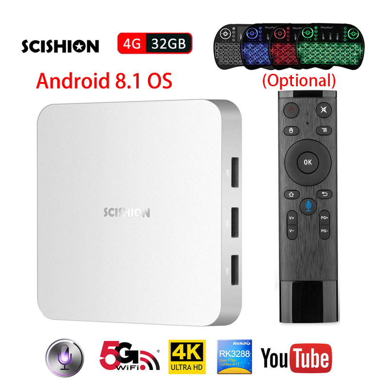 SCISHION AI ONE Android 8.1 TV Box with Voice Control smart TV RK3328 Quad Core 4GB RAM 32GB ROM 2.4G WiFi Bluetooth Set-top Box цена 2017
