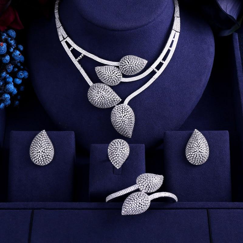 HTB1dejQucuYBuNkSmRyq6AA3pXaU jankelly 2 Tones 4pcs Bridal Zirconia Jewelry Sets For Women Party, god ki Luxury Dubai Nigeria CZ Crystal Wedding Jewelry Sets