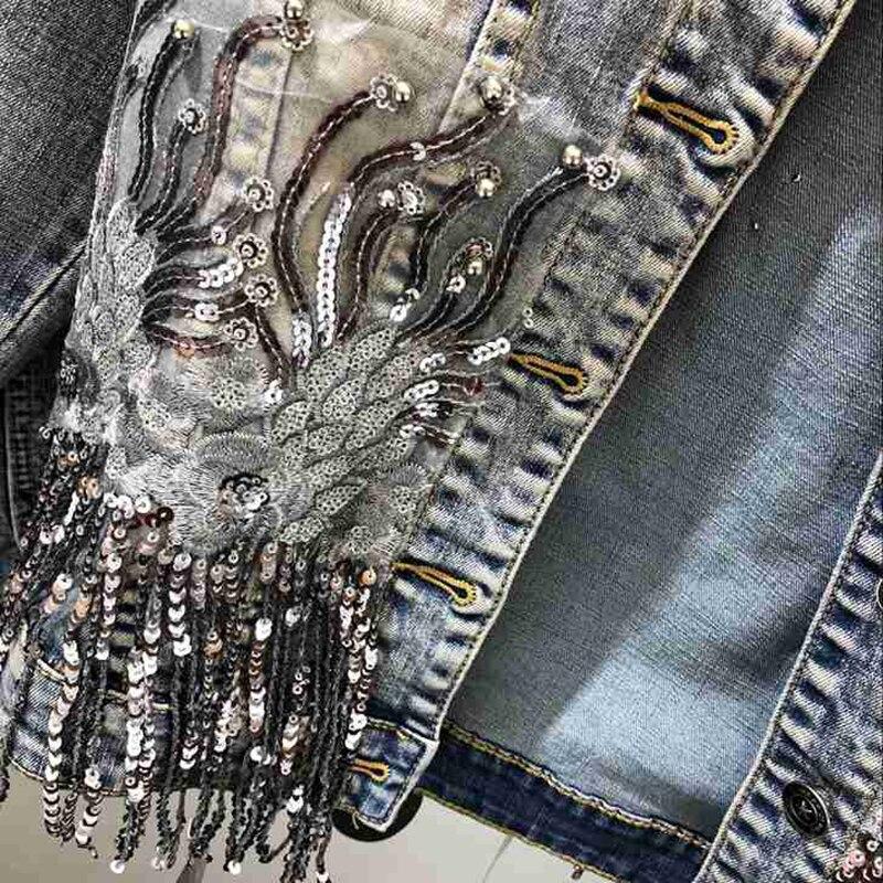 Mode fait à la main perle Rivet Denim veste femmes Rivet gland Slim Jeans veste courte paillettes Jeans veste décontracté fille Outwear - 6