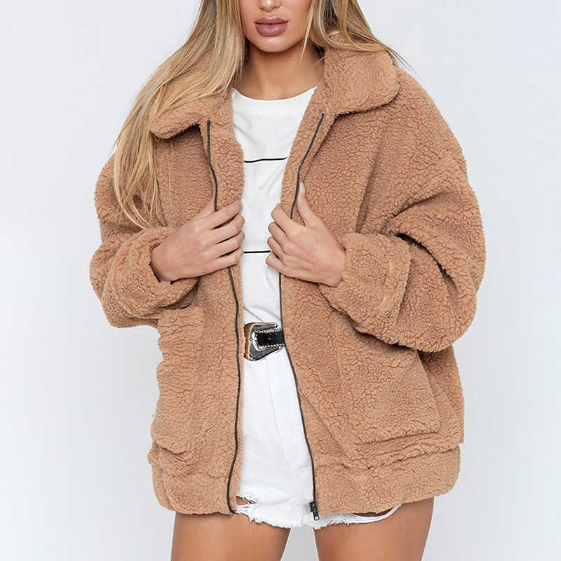 e61894a95347 2018 Winter Warm Faux Fur Coat Women Turn Down Collar Long Sleeve Pocket  Zipper Overcoat Casual