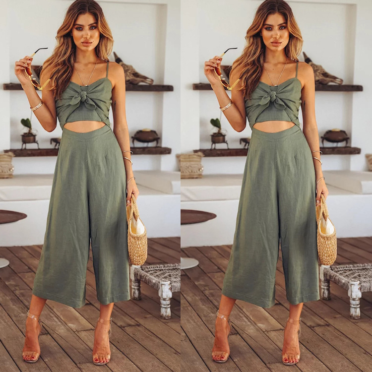 BKLD 2018 Elegant Women Jumpsuit Summer Vacation 2018 Spaghetti Strap Hollow Out High Waist Wide Leg Ladies Casual Party Romper
