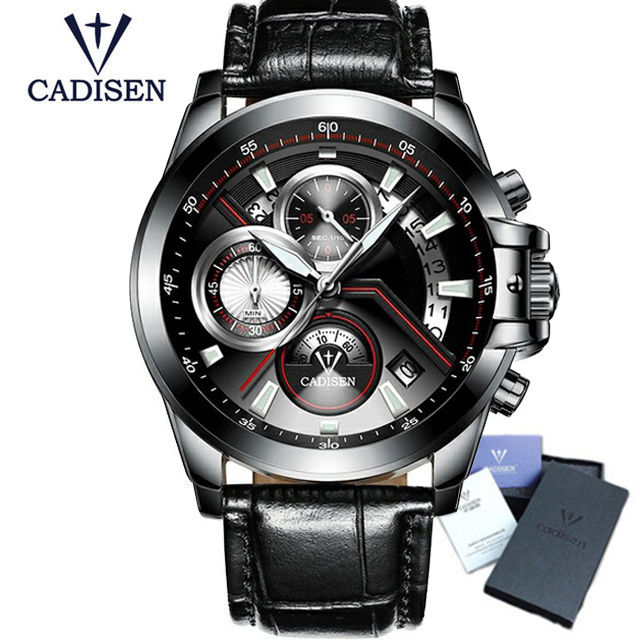 2018 CADISEN Top Brand Fashion Men's Watches Casual Pilot Military Sport Quartz Wrist Watches Male Clock Relogio Masculino 9016 xinge top brand luxury leather strap military watches male sport clock business 2017 quartz men fashion wrist watches xg1080